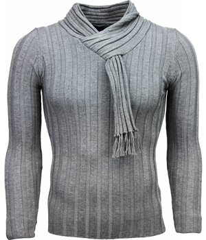 Belman Casual Sweater - Shawl collar Design Stripes Motif - Dark grey