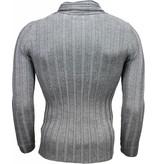 Belman Casual Sweater - Shawl collar Design Stripes Motif - Dark grey