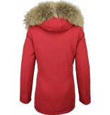 Beluomo Fur Collar Coat - Women's Winter Coat Wooly Long - Parka - Red