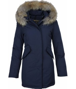 Beluomo Fur Collar Coat - Women's Winter Coat Wooly Long - Parka - Blue
