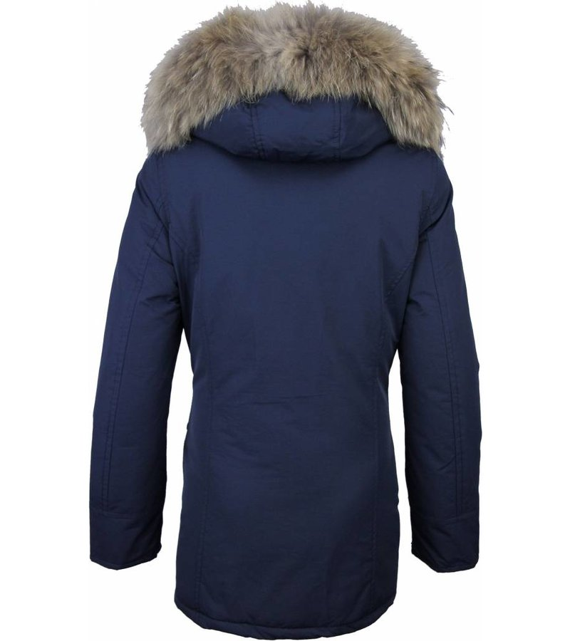 Beluomo Fur Collar Coat - Women's Winter Coat Wooly Long - Parka - Blue
