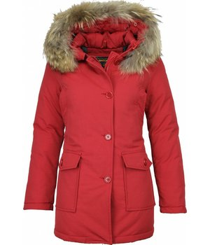 Beluomo Fur Collar Coat - Women's Winter Coat Wooly Long - Parka Stitch Pockets - Red
