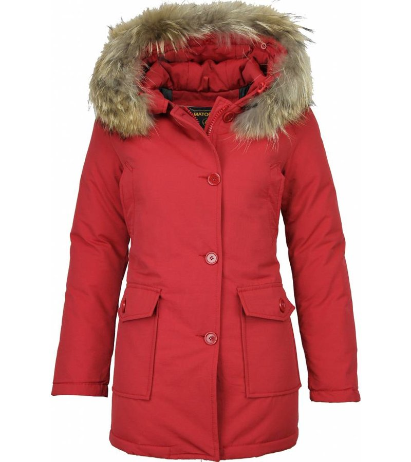 Beluomo Fur Collar Coat - Women's Winter Coat Wooly Long - Parka Stitch Pockets - Red
