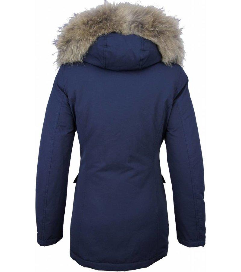 Beluomo Fur Collar Coat - Women's Winter Coat Wooly Long - Parka Stitch Pockets - Blue
