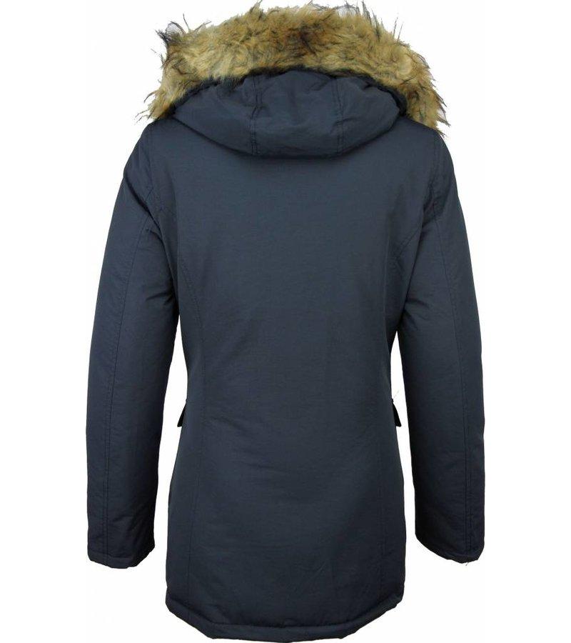 Beluomo Winter Coats - Women's Winter Jacket Wooly Long - Faux Fur - Parka Stitch Pockets - Blue
