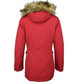 Beluomo Winter Coats - Women's Winter Jacket Wooly Long - Faux Fur - Parka Stitch Pockets - Red