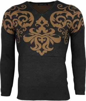 Lucky Life Casual Sweater - Tattoo Motive Embroider Men - Grey