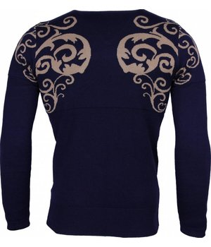 Lucky Life Casual Sweater - Tattoo Motive Embroider Men - Blue