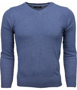 Zone Casual Sweater - Exclusive Blank V-Neck - Dark Blue