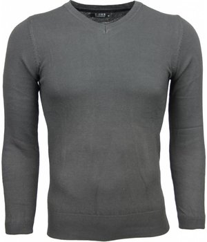 Zone Casual Sweater - Exclusive Blank V-Neck - Anthracite