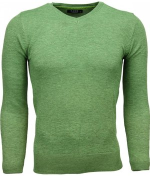 Zone Casual Sweater - Exclusive Blank V-Neck - Green