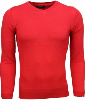 Zone Casual Sweater - Exclusive Blank V-Neck - Red
