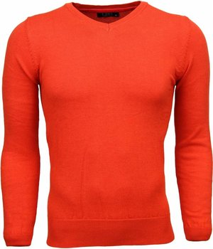 Zone Casual Sweater - Exclusive Blank V-Neck - Orange