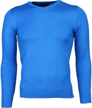 Bruno Leoni Casual Sweater - Exclusive Blank V-Neck - Blue