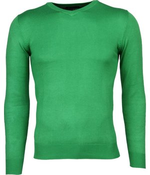 Bruno Leoni Casual Sweater - Exclusive Blank V-Neck - Green