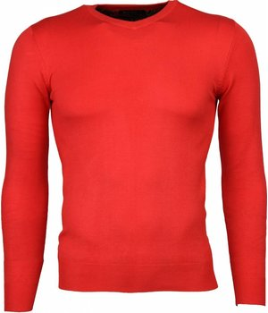 Bruno Leoni Casual Sweater - Exclusive Blank V-Neck - Red