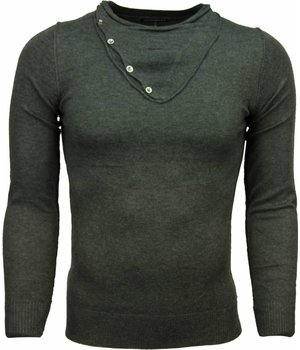 Always Casual Sweater - Trendy Collar Design Buttons Men - D. Grey