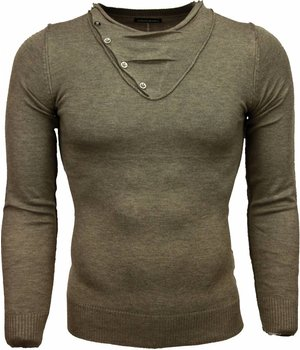 Always Casual Sweater - Trendy Collar Design Buttons Men - Brown