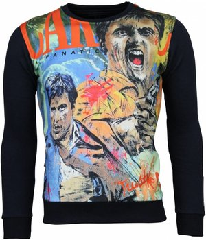 Local Fanatic Scarface Cartoon - Sweater - Blue