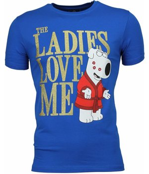 Mascherano T-shirt - The Ladies Love Me Print - Blue