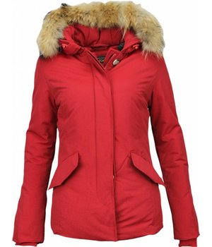 Beluomo Fur Collar Coat - Women's Winter Coat Wooly Short - Red