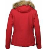 Beluomo Fur Collar Coat - Women's Winter Coat Wooly Short - Red
