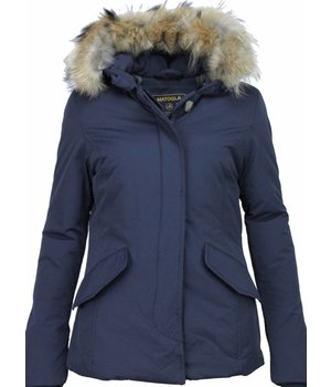 Beluomo Fur Collar Coat - Women's Winter Coat Wooly Short - Blue