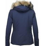 Beluomo Fur Collar Coat - Women's Winter Coat Wooly Short - Blue