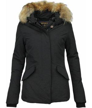 Beluomo Fur Collar Coat - Women's Winter Coat Wooly Short - Black