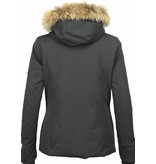 Beluomo Fur Collar Coat - Women's Winter Coat Wooly Short - Black