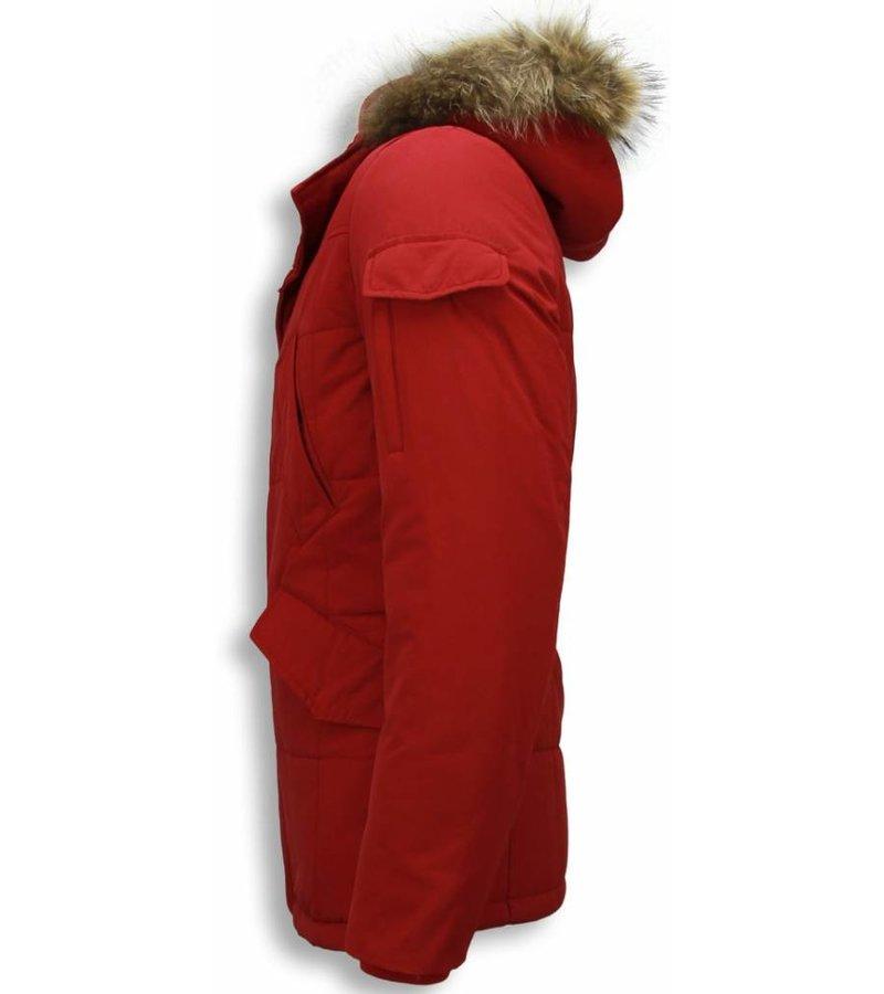 Beluomo Fur Collar Coat - Men Winter Coat Long - Parka - Red