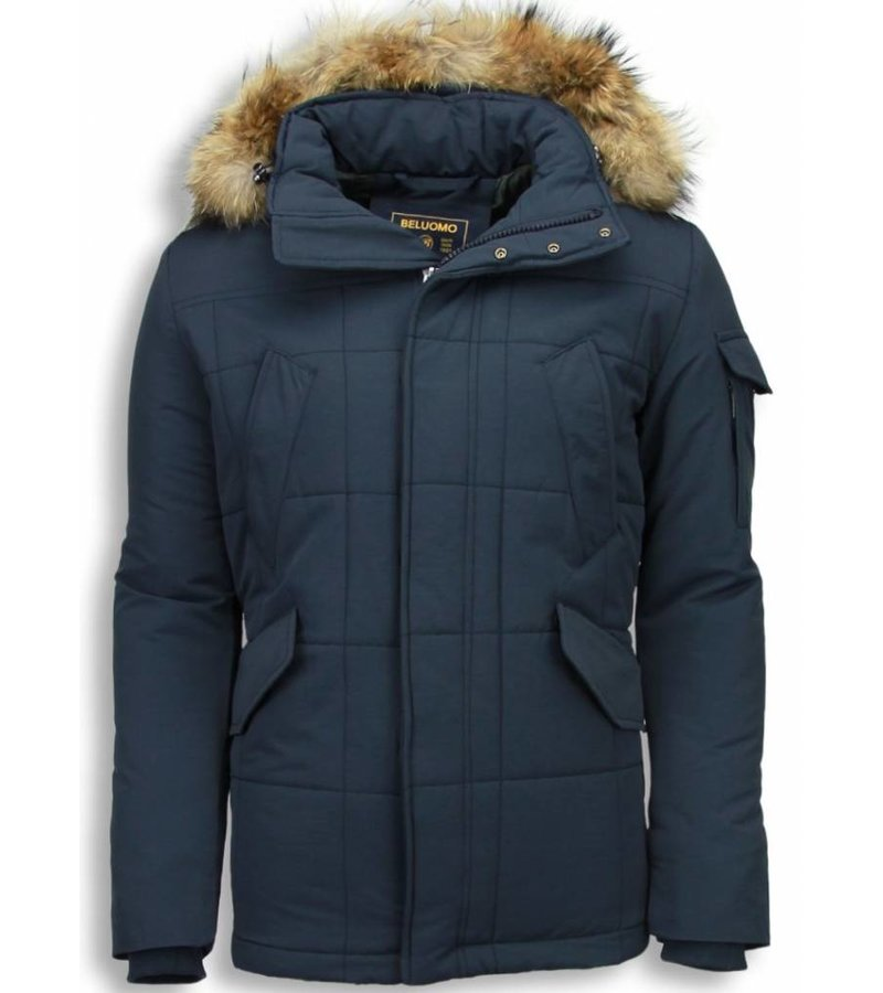 Beluomo Fur Collar Coat - Men Winter Coat Long - Parka - Blue