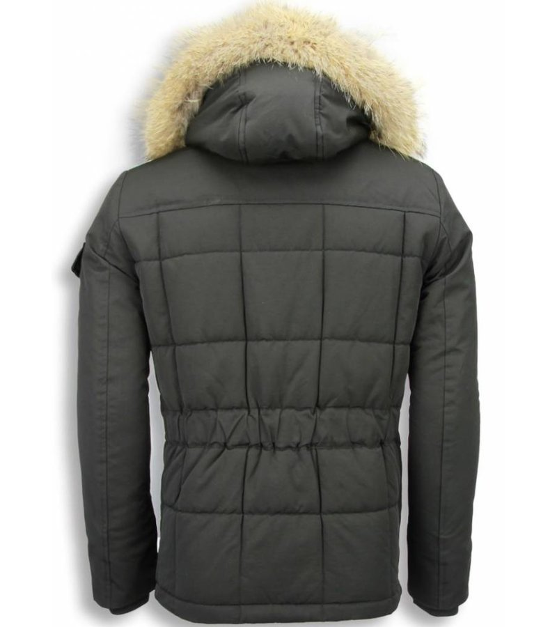 Beluomo Fur Collar Coat - Men Winter Coat Long - Parka - Black/Brown