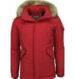 Beluomo Fur Collar Coat - Men Winter Coat Long - Parka - Red