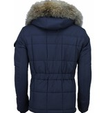 Beluomo Fur Collar Coat - Men Winter Coat Long - Parka - Blue
