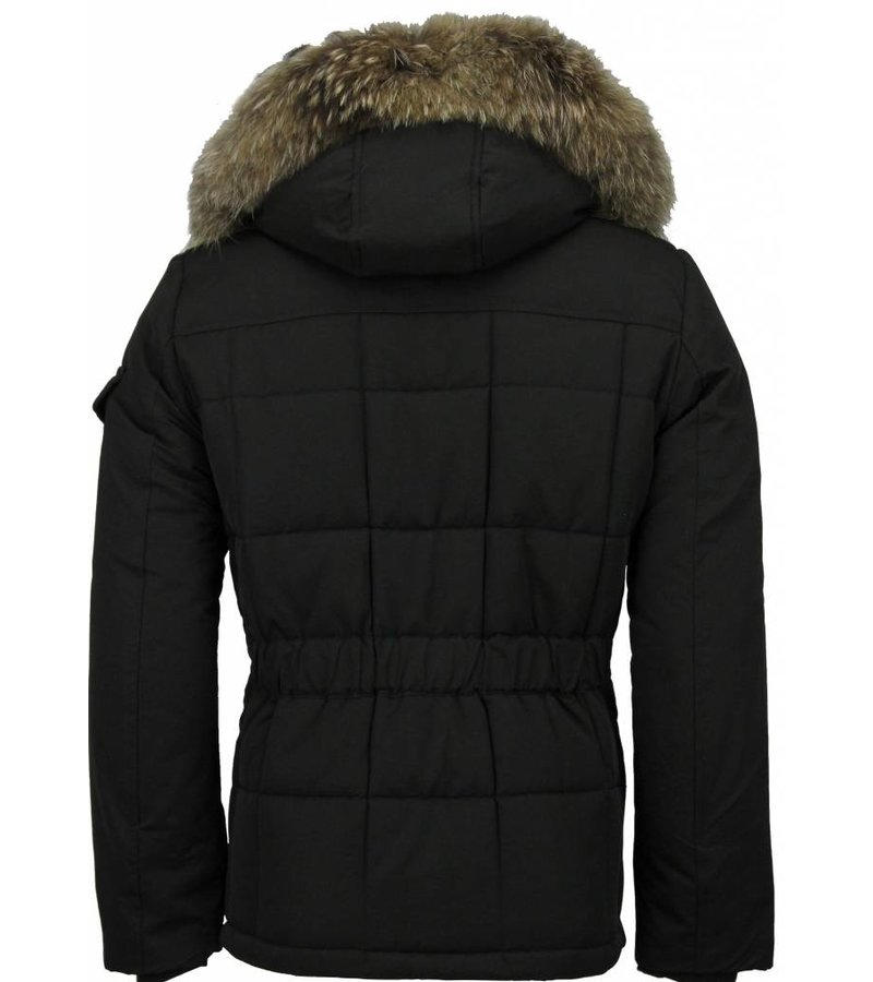Beluomo Fur Collar Coat - Men Winter Coat Long -  Parka - Black/Brown
