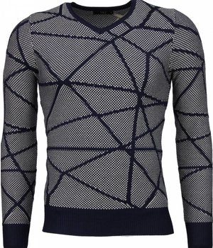 TMK Casual Sweater - Trendy Wool Sweater Men - Grey / Blue
