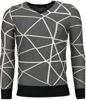TMK Casual Sweater - Trendy Wool Sweater Men - Grey / Black