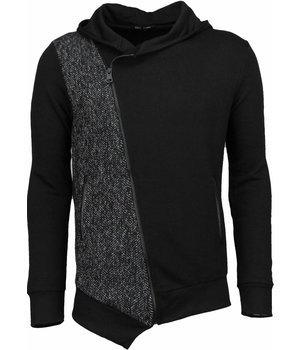 Enos Casual Hoodie - Long Slant Zipper - Black