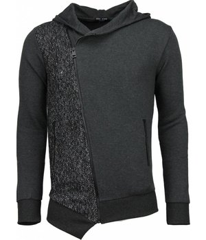 Enos Casual Hoodie - Long Slant Zipper - Grey