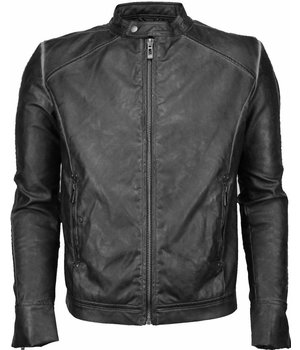 Yole Fake Leather Jacket - Street Wear - Grey/Black