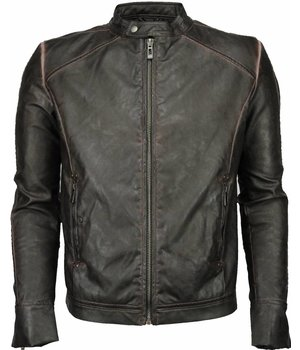 Yole Fake Leather Jacket - Street Wear - Brown/Black