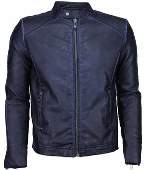 Yole Fake Leather Jacket - Street Wear - Blue/Black