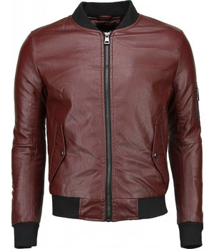 Daniele Volpe Fake Leather Jacket - Baseball Jack - Burgundy