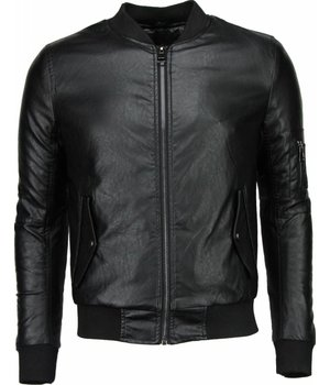 Daniele Volpe Fake Leather Jacket - Baseball Jack - Black