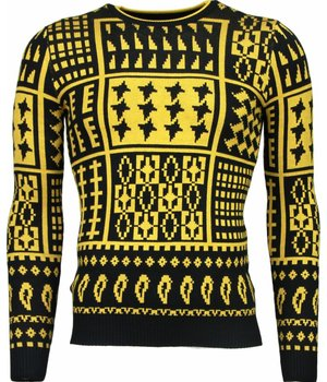 Akusawa Casual Sweater - Motifs Wool Sweater Men - Yellow