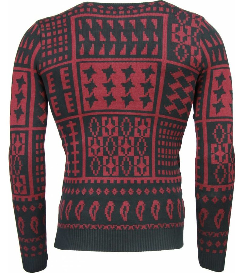 Akusawa Casual Sweater - Motifs Wool Sweater Men - Burgundy