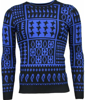 Akusawa Casual Sweater - Motifs Wool Sweater Men - Blue