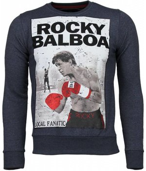 Local Fanatic Rocky Balboa - Rhinestone Sweater - Blue