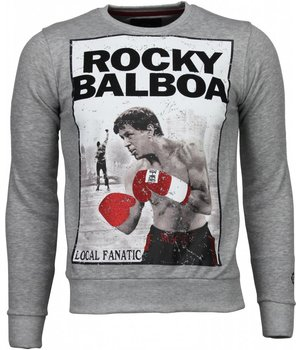 Local Fanatic Rocky Balboa - Rhinestone Sweater - Grey